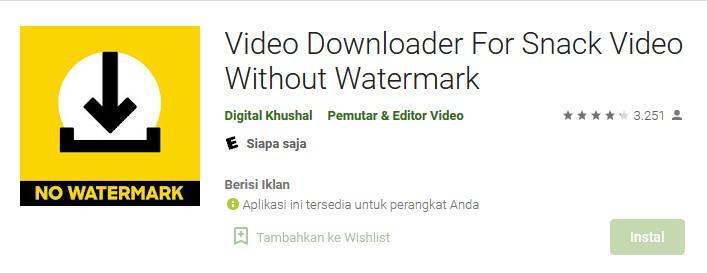 Aplikasi Donwload Snack Video tanpa Watermark